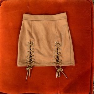 Dresses & Skirts - Brown Lace Up Skirt 💕 Size S